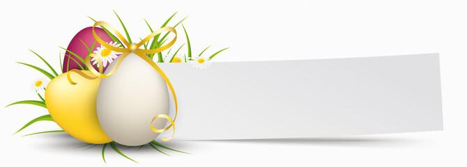 Paper Banner Easter Eggs Golden Ribbon Grass