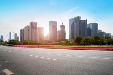 The Skyline of Urban Road and Architectural Landscape in Shenzhen..