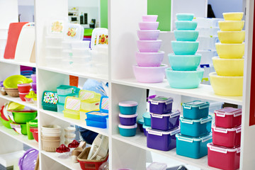 Plastic kitchen food containers in store