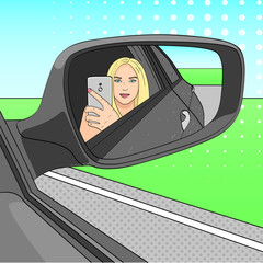 A young girl, a blonde is making a selfie photo in the mirror of a side view of a car. Raster