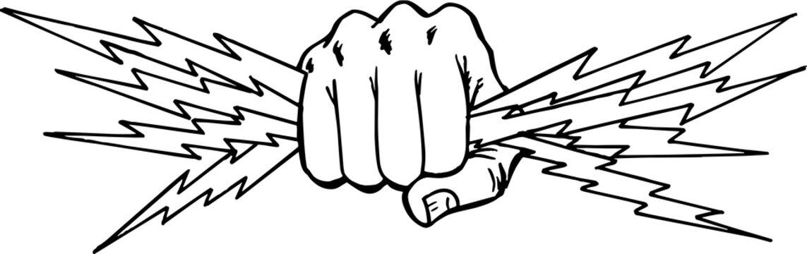 Fist with Lightning Vector Illustration