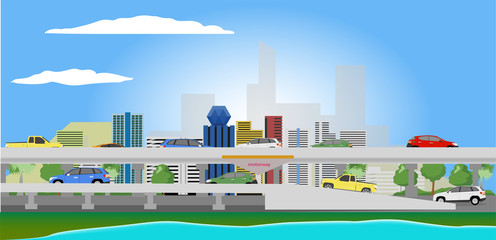 Cartoon vector landscape city with cars running on the street with clear sky.