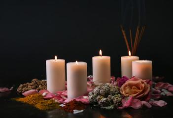 Festive composition for celebration of Divaly on dark background