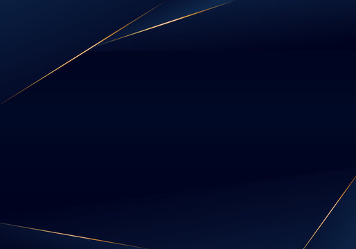 Abstract template dark blue luxury premium background with luxury triangles pattern and gold lighting lines