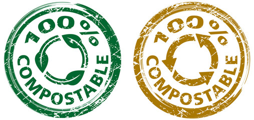 100% compostable stamps with recycle icon. In green and brown colors. Grunge texture. Vector illustration.