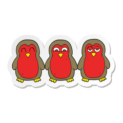sticker of a cartoon christmas robins holding hands
