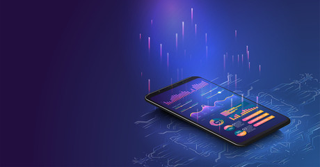 Application of smartphone with business graph and analytics data on isometric laptop . Analysis trends and financial strategy by using infographic chart. Online statistics and data Analytics. Vector