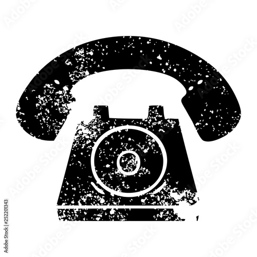 distressed symbol old telephone
