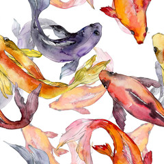 Aquatic underwater colorful tropical goldfish set. Watercolor background illustration set. Seamless background pattern.