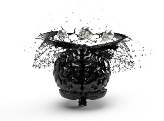 Black brain with skeletons at the top and liquid on a white background.