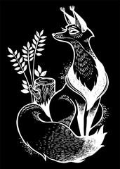 Cute fox illustration. Decorative line art drawing