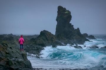 Basalt rocks on Djupalonssandur black beach in Snaefellsnes peninsula Iceland