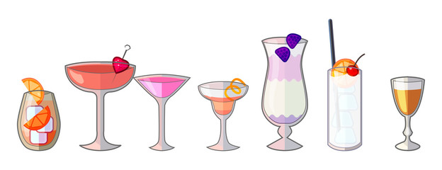 bar icon set, cocktail bar isolated objects, flat vector