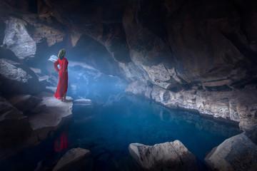 Famous Grjotagja lava cave near lake Myvatn in north Iceland