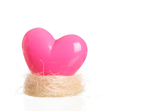 Pink heart on nest  isolated on white
