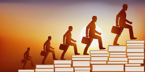 Concept de l'éducation faisant accroître la connaissance avec un homme qui grandit au fur et à mesure qu'il monte un escalier dont les marches sont faites de livres.