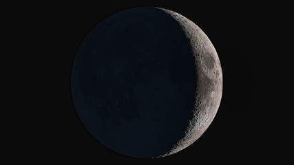 The beauty of the universe: Wonderful super detailed waxing crescent Moon