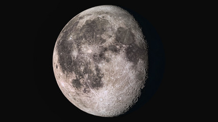 The beauty of the universe: Wonderful super detailed waning gibbous Moon