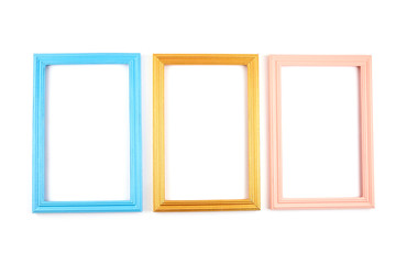Set of colorful wooden frames. Wooden square picture frames of colorful set for your web design.