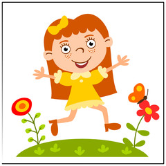Funny girl in cartoon style running through a flower meadow, isolated on a white background.
