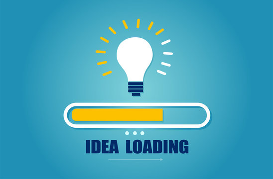 Vector of a loading bar almost complete with idea light bulb.