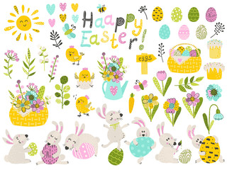 Big set of cute cartoon characters and design elements for the Easter holiday.