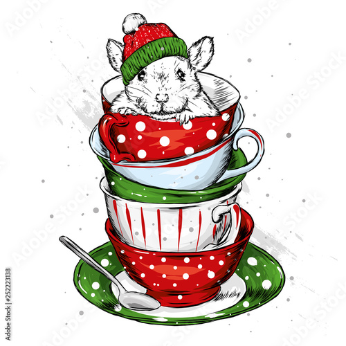 23aec5f434056 A rat in a Christmas hat is sitting in a vintage cup. Vector illustration  for