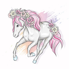 Beautiful horse with flowers in the mane. Fairy-tale and mythical character. Horse with a mane. Ready design postcards, poster or print on fabric or clothing. Vector. Magic and fairy tale.