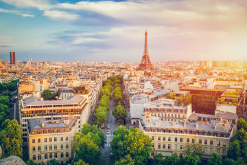 Cityscape of Paris at sunset.