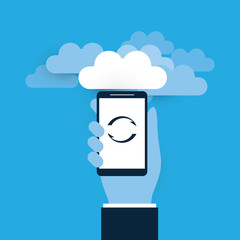Hand Holding a Smart Phone - Cloud Computing Design Concept, Digital Network Connections, Technology Background