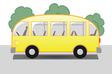 Yellow bus with seats and handrails on the background of trees, side view.