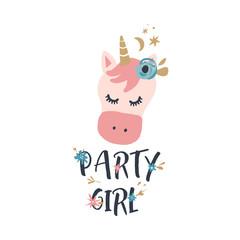 Vector cute animals art. Little pony, unicorn in simple cartoon scandinavian style. Good for nursery clothes