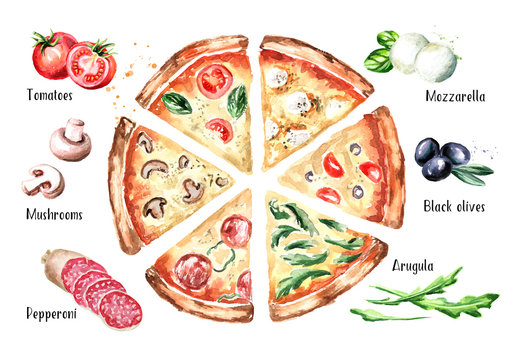 Slices of pizza with different toppings and ingradients, top view. Watercolor hand drawn illustration, isolated on white background