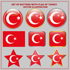 Bright buttons with flag of Turkey. Happy Turkey day buttons. Colorful buttons with flag. Vector illustration.