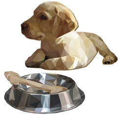 Labrador Retriever puppy and bowl with bone low poly