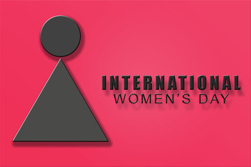 Poster of International women's day. Symbol of woman 3d illustration. Happy mother's Day.