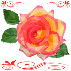 rose flower with leaves low poly isolated on white background