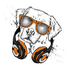 Dog with headphones. Funny puppy. Vector illustration for greeting card or poster, print on clothes.