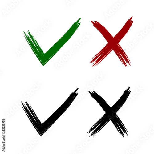 Cross and a tick  Mark icons  Vector illustration  Green tick and