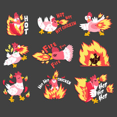 Hot spicy chicken set, rooster on fire, creative logo design templates vector Illustration