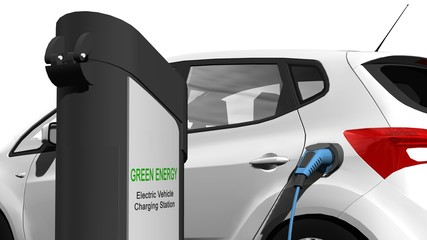 Electric cars charging on charge station – electro mobility environment friendly - isolated in white - 3d render