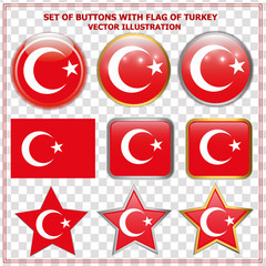 Bright buttons with flag of Turkey. Happy Turkey day buttons. Colorful buttons with flag. Vector illustration with transparen background..