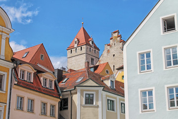 Wall Murals View of medieval town Regensburg. Center of the city is a UNESCO World Heritage. Bavaria, Germany.