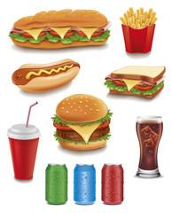 Photo sur Aluminium Snack fast food items-hamburger, fries, hotdog, drinks, sandwich, baguette