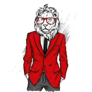 Lion with a human body in a jacket. Vector illustration. Hipster. Clothes and accessories. A man in a business suit.