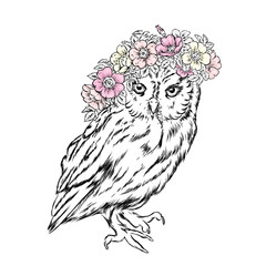 A beautiful owl in a wreath of wild rose. Vector illustration for postcard or poster, print for clothes. Spring and summer, a bouquet of flowers. Vintage and retro. Hipster. Cute bird.