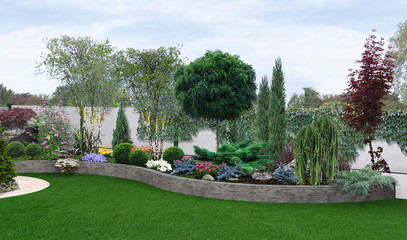 Foto op Plexiglas Grijs Two tier garden creating, 3d illustration