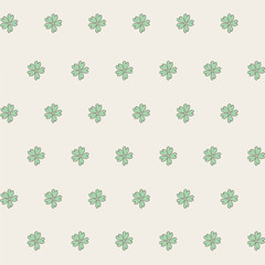 Five leaf clover. Unusual vintage pattern. Vector graphics.
