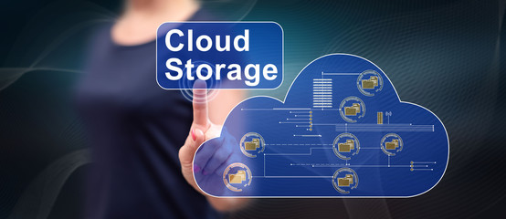 Woman touching a cloud storage concept
