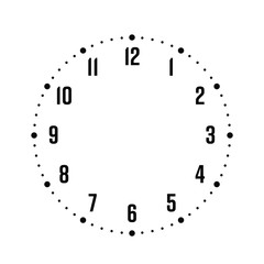 Clock face. Hour dial with numbers. Dots mark minutes and hours. Simple flat vector illustration